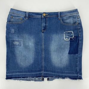 Lane Bryant Denim Pencil Skirt Patches Distressed